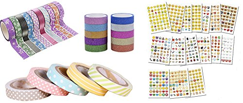 Washi Tape Emoji Stickers Bundle - 25 Rolls of Glitter Dot and Stripe Adhesive Tapes - 16 Sheets Of Over 768 Cute Emoji Stickers