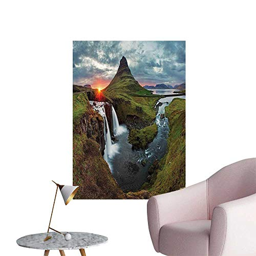 Wall Decoration Wall Stickers Waterfall Landscape Iceland SunMountain Volcanic Area Natural auty Nobo Print Artwork,16
