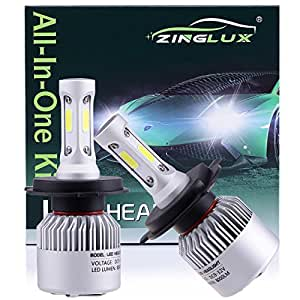 ZX2 H4 HB2 9003 8000LM LED High Low Dual Beam Headlight Conversion Kit,High Low Beam in One Bulb,for Replacing Halogen Headlamp All-in-One Conversion Kits,COB Tech,6500K Xenon White, 1 Pair