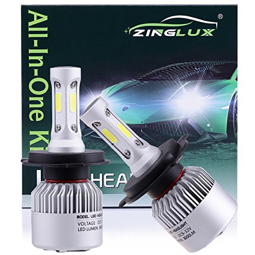 2002 Mitsubishi Eclipse Headlamp - ZX2 H4 HB2 9003 8000LM LED High Low Dual Beam Headlight Conversion Kit,High Low Beam in One Bulb,for Replacing Halogen Headlamp All-in-One Conversion Kits,COB Tech,6500K Xenon White, 1 Pair
