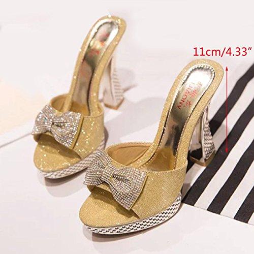 Platform golden Jiyaru Slippers Women Shoes Open Dress Wedding High Work Heeled Sandal Toe 6p7rWq7cI