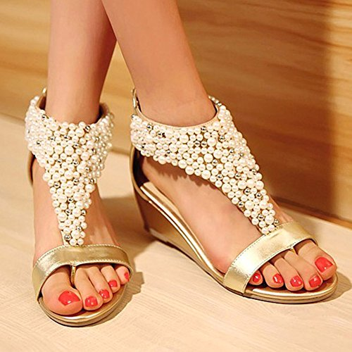 Getmorebeauty Ankle Sandals Strappy Gold Pearls Toes Zipped Peep Women's Across OTqOwHxP6