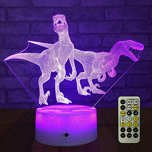 FlyonSea Dinosaur Light,Dinosaur Lamp,Dinosaur Night Light Kids 7 Colors Change Remote Control with Timer Optical Illusion Kids Lamp As a Gift Ideas for Boys or Kids (Velociraptor) ()