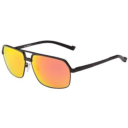Gafas de sol Aluminio Magnesio Polarizado Luz Gafas De Sol Personalidad Colorido Reflexivo Retro Azul Naranja