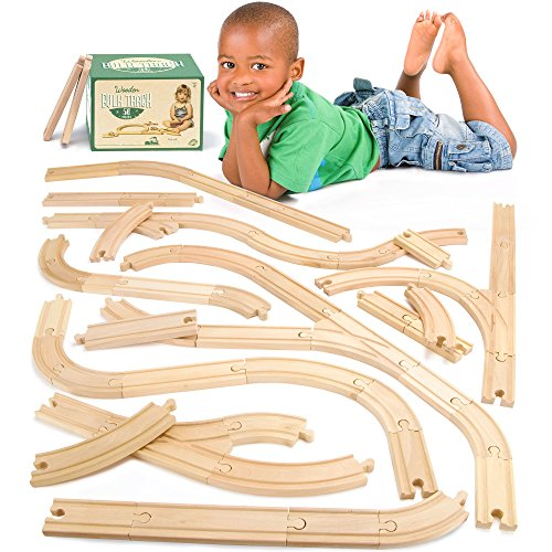 Conductor Carl 56-Piece Bulk Value Wooden Train Track Pack - Compatible with All Major Toy Train Brands - Conductor Train Thomas
