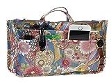 Printed Purse Insert Organizer,14 Pockets Zipper Closed Handbag Liner Bag In Bag (Happy flower)