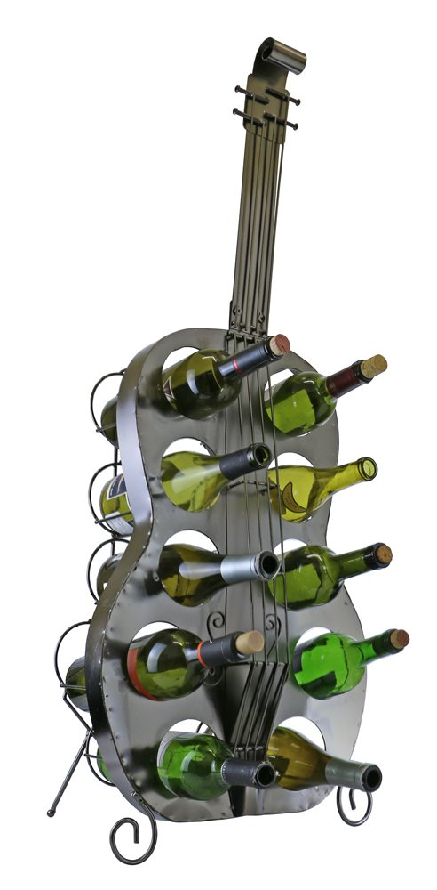 Large 39 Inch Guitar with 10 Capacity Wine Bottle Holder Rack For Kitchen or Restaurant Décor