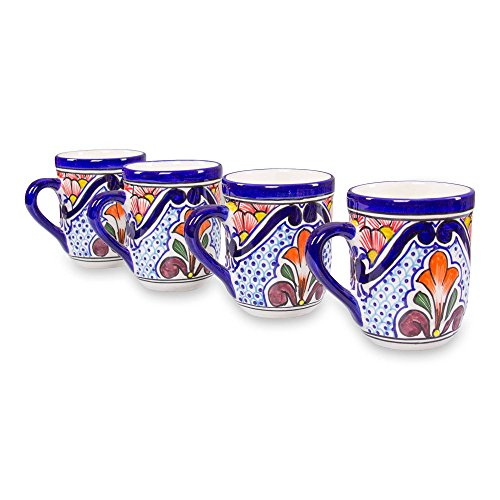 nd Painted Traditional Style Mexican Talavera Ceramic Mugs 'A Taste Of Mexico,' 13oz (set of 4) ()