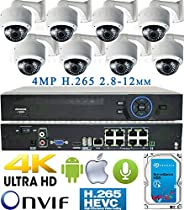USG Business Grade H.265 4MP 8 Camera HD Security System : Ultra 4K Security NVR + 8x 4MP 2592x1520 2.8-12mm PoE IP Dome Cameras with Bracket & Deep Base + 1x 4TB HDD : Apple Android Phone App