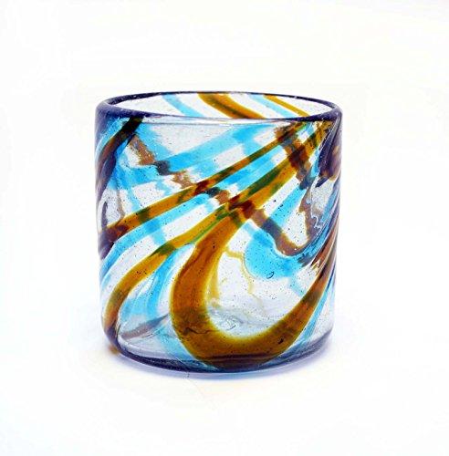 Set of 4, Amber/Aqua Swirl Rocks Glasses, 14-16 ozs. Recycled, Handmade