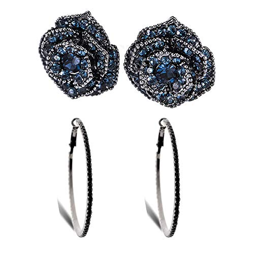 Eleganze 2 Pairs Fashion Hoop Stud Earrings Bridal Wedding Black Blue Crystal Rhinestone Flower Earring Set Jewelry for Women (Black Hoops+Blue Rose Flower)