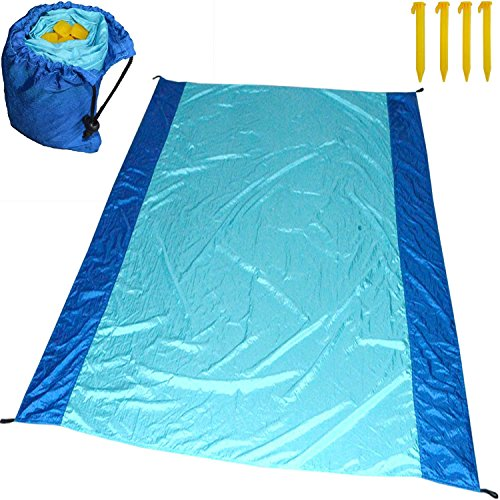Sand Proof Beach or Picnic Blanket made of Parachute Nylon, works as Shade Tarp Sheet for your Sandless travel escape perfect for drying towel not a black microfiber waterproof or resistant mat