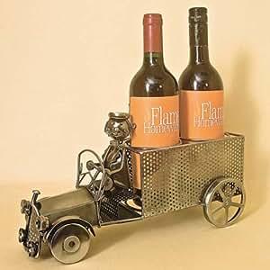 Watson's - Botellero de metal reciclado para 2 botellas, diseño de camión