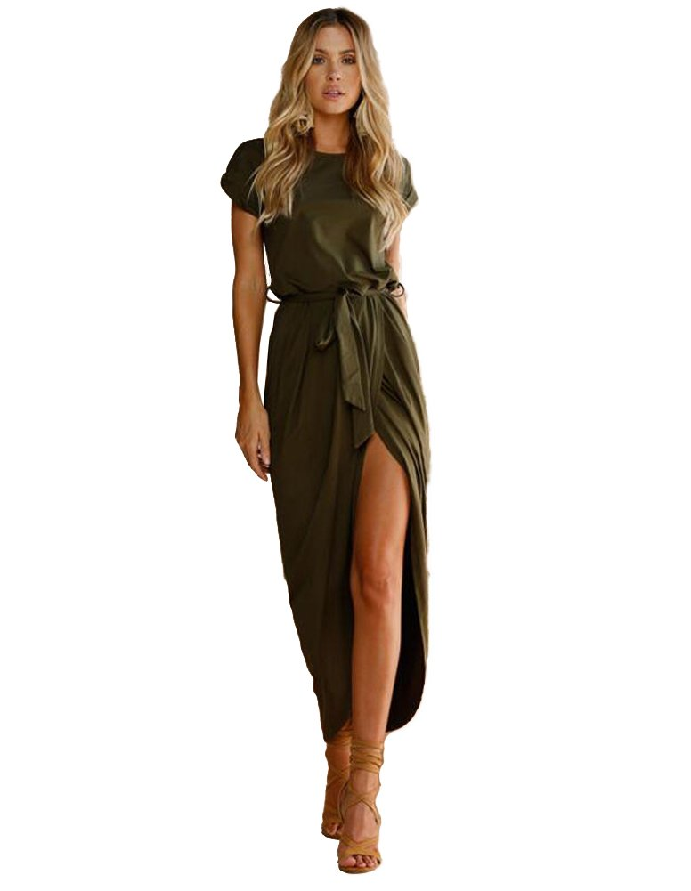 Women's Solid Color Cotton Crew Neck Short Sleeve Front Slit Casual Long Maxi Dress with Belt (S, Green)