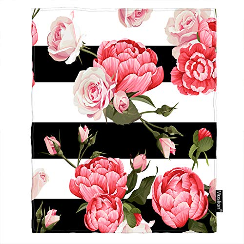 Moslion Floral Blanket Pink Peony and Rose Flower Green Leaves on Black White Stripes Throw Blanket Flannel Home Decorative Soft Cozy Blankets 40x50 Inch for Baby Kids ()