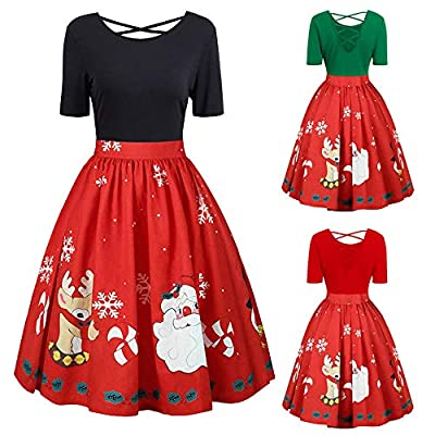 Clearance Dress, FEDULK Women Christmas Santa Printed Short Sleeves Crossover Party Dress