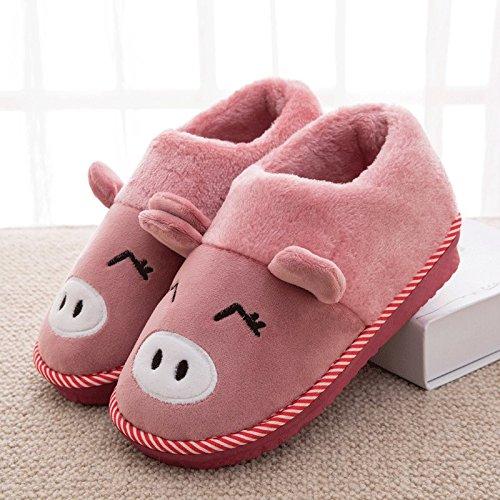 Cotone fankou pantofole femmina pacchetto completo con inverno caldo di spessore non-slip piscina home stay Cartoon carino pantofole uomini e ,300# (44-45), il tutto-rosso