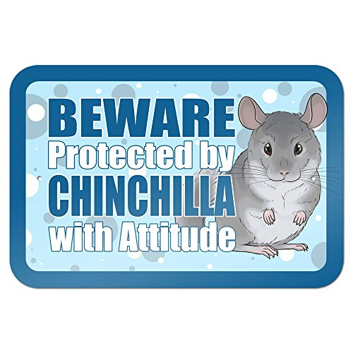 """Beware Protected by Chinchilla with Attitude 9"""" x 6"""" Metal Sign for cheap"""