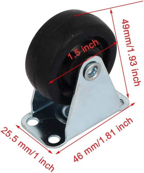 ZXHAO 1.5 inch Dia Rubber Single Wheel Rigid Non-Swivel Top Plate Fixed Casters 8pcs