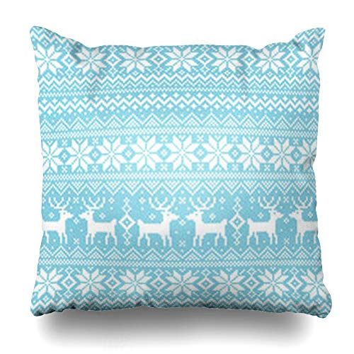 Nordic Reindeer Sweater (Decor.Gifts Throw Pillow Covers Blue Winter Nordic Pattern Crystal Sweater Knit Snow Reindeer Norway Cushion Case Square Size 18 x 18 Inches Home Decor)