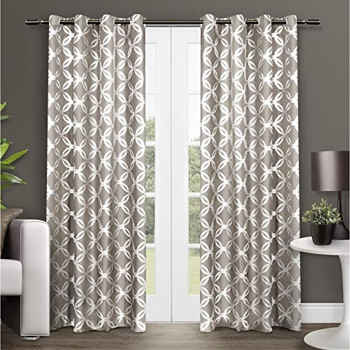 Exclusive Home Curtains Modo Metallic Geometric Window Curtain Panel Pair with Grommet Top, 54x96, Natural, 2 Piece ()