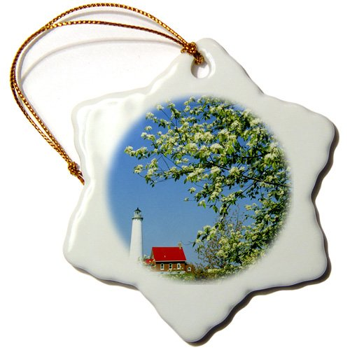 3dRose orn_91116_1 Michigan, Tawas Lighthouse, Cherry Trees-Us23 Bja0096-Jaynes Gallery-Snowflake Ornament, 3-Inch, Porcelain (Best Cherry Trees For Michigan)