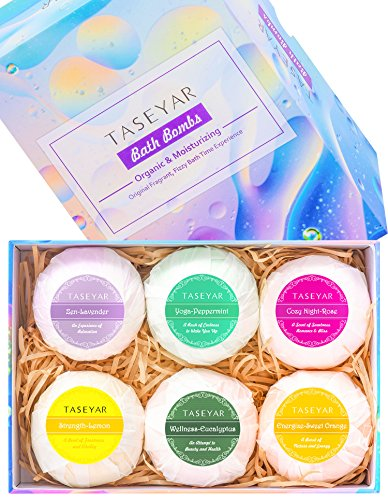 Bath Bombs Set of 6,TASEYAR 4OZ Tennis Size Bubble Bath Toys,Essential Oil Fragrant Jewels,Lush Fizzies for Dry Skin. Bath and Beauty Gift Set (Sweet (Homemade Halloween Gift Ideas)