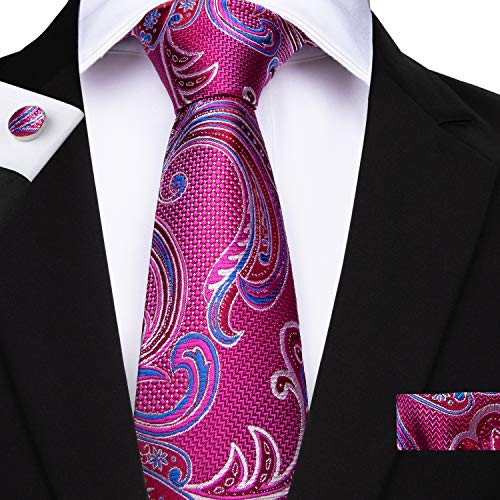 DiBanGu Paisley Tie Men's Silk Pink Floral Tie Pocket Square Cufflink Tie Clip Set Wedding Business