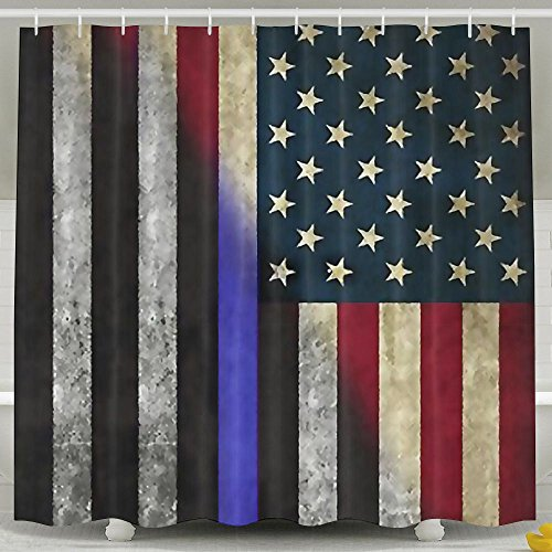 Hot Lalamin Thin Blue Line USA Flag Fabric Decorative Shower Curtain Set 60x72 Inches Bath Curtains,Waterproof Mold Mildew Resistant Unique Art Designed For Bathroom