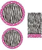Pink Polka Dot Zebra Print Paper Dinner Plates, Small Plates & Napkin Set