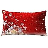 Hangood Cotton Flannel Lumbar Pillowcase Throw Pillow Case Cushion Covers Cover Christmas Snowflake 30cm x 50cm
