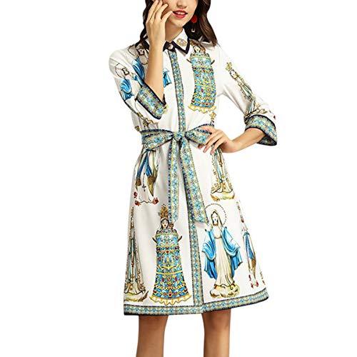 Mini Estampado Cinturón Floral Vestido 3 Una 4 Las Vintage Manga White Mujeres Línea Con De Solapa Cuello xx4zZw