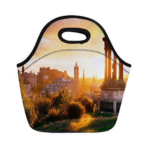 Semtomn Neoprene Lunch Tote Bag Scotland Edinburgh City Skyline Viewed From Calton Hill United Reusable Cooler Bags Insulated Thermal Picnic Handbag for Travel,School,Outdoors,Work ()