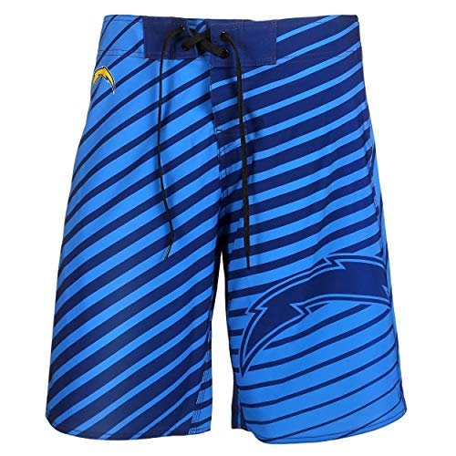(Klew 2016 NFL Football Mens Stripes Poly Swimsuit Boardshorts - Pick Team (San Diego Chargers, Large 36))