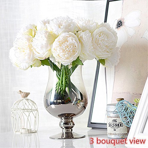 Felice arts Silk Peony Bouquet 5 Heads Artificial Fake Flower Bunch Bouquet Bridal Bouquet Wedding Living Room Table Home Garden Decoration, Cream (Flowers Peony Wedding)