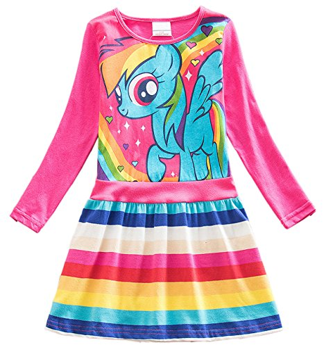Lemonbaby My Little Pony Dress Colorful Striped Cartoon Girls Dress (6t, Pink (My Little Pony Dresses)