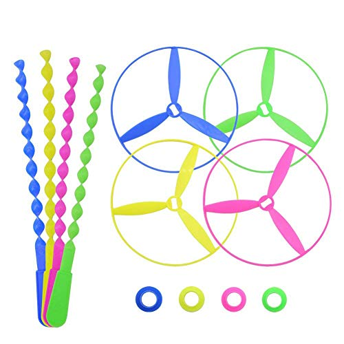 POPLAY Twisty Pull String Flying Saucers/Helicopters,40 PCS by POPLAY