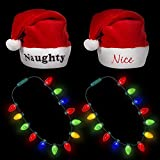 Windy City Novelties Naughty & Nice Santa Hats + 2 Pack Light Up Christmas Bulb Necklace Red