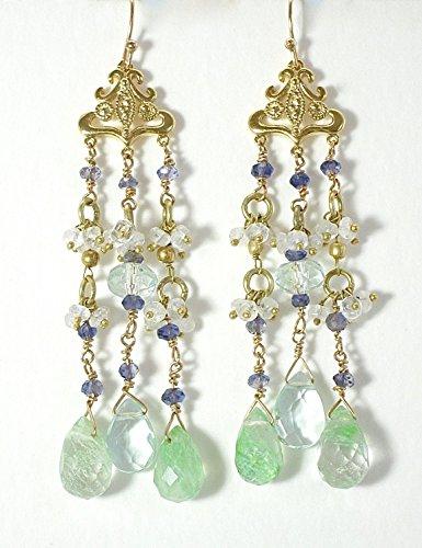 Blue green chandelier earrings -