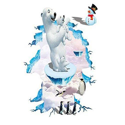 Fangeplus(R) DIY Removable 3D Polar Bear Northern Polar Bears Penguin Snowman Art Mural Vinyl Waterproof Wall Stickers Kids Room Decor Nursery Decal Sticker Wallpaper23.6