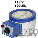 110v Heating Mantle 500ml with US Plug for Round Bottom Flask Best Quality Original by Brand BEXCO