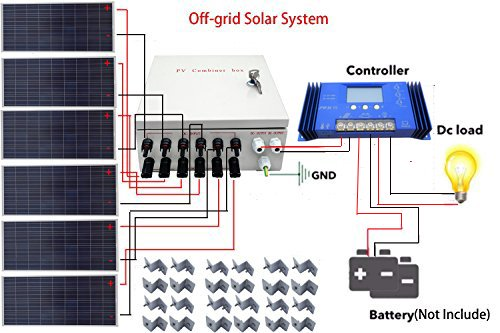 (ECO LLC 900W 24V Off Grid Solar System Kit with 6x150W Solar Panel and 6 Strings Combiner Box)