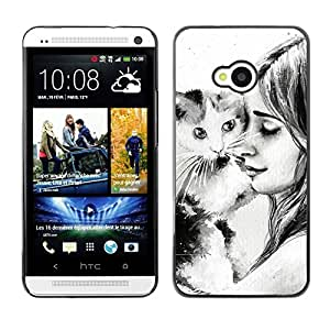 PC/Aluminum Funda Carcasa protectora para HTC One M7 Cute Girl & Cat / JUSTGO PHONE PROTECTOR