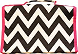 Black/White Chevron w/ Pink Trim Hanging Travel Jewelry Roll Organizer
