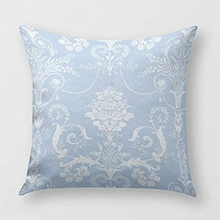 Cuscini Damascati Per Divani.Cuscino Stampato Floreale Damascato Azzurro E Bianco Per Divano O