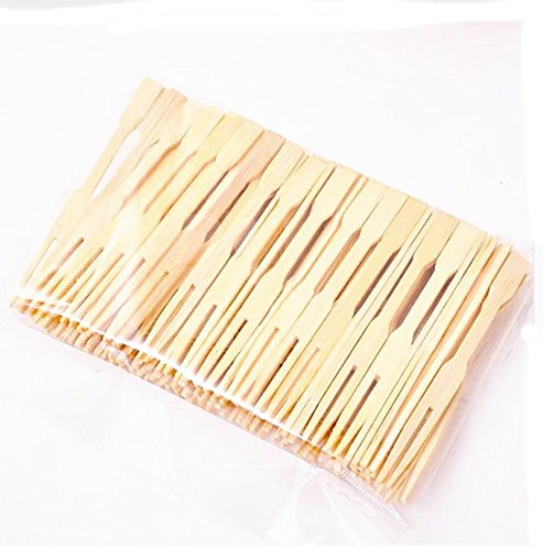 200 pcsPure bamboo Disposable Wooden fruit fork Dessert Cocktail Fork Set Party Home Household Decor Tableware supplies.