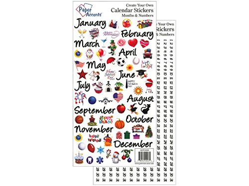 Accent Design Paper Accents StickerMonths&NumberBk Lg StickerMonthNumberLg
