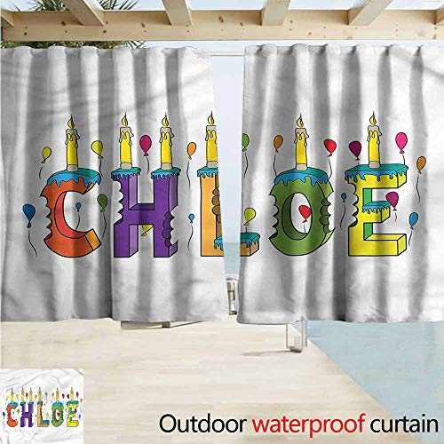 MaryMunger Outdoor Waterproof Curtains Chloe Cheerful Lettering Design Darkening Thermal Insulated Blackout W63x45L Inches