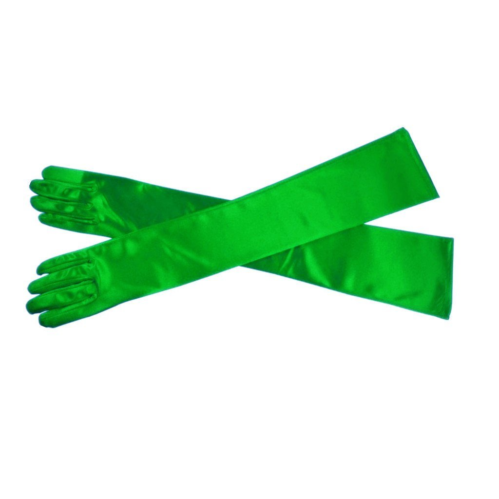 Women's Evening Party 21 Long Satin Finger Gloves (Green) DG01
