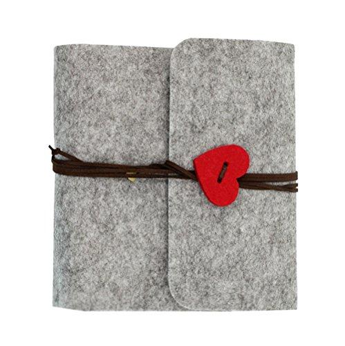 DIY Photo Album Felt Cover Vintage Scrapbook with Love Heart String, Wedding Anniversary Travel Memory Book Graduation Valentine Gift